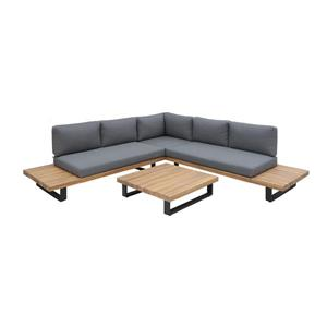 Patio Flare Haven Patio Conversation set - Grey and Acacia Wood