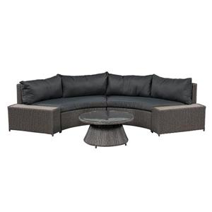 Vale Curved Outdoor Sofa Set - Dark Gray