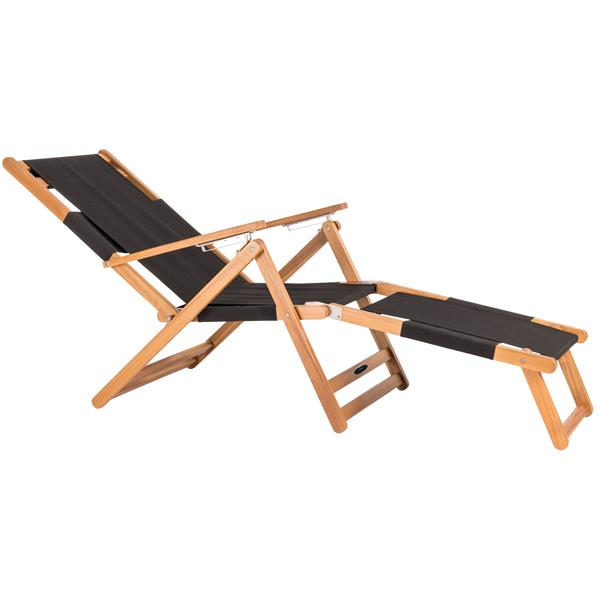 Patio Flare Wooden Beach Chair with Leg Rest - Black