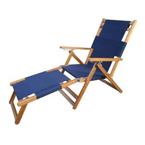 Patio Flare Wooden Beach Chair with Leg Rest - Blue