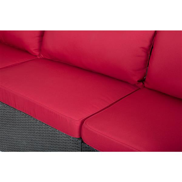 Patio Flare Napier Sectional Sofa Set - Matte Black and Red