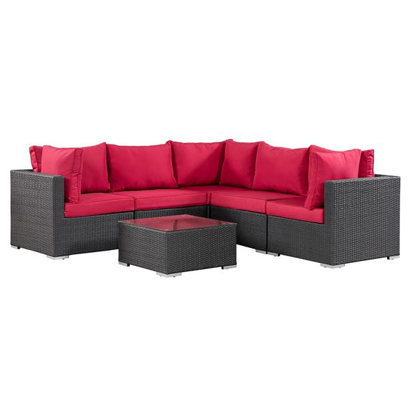 Patio Flare Napier Sectional Sofa Set - Matte Black and Red ...