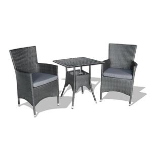 Patio Flare Kevin Resine Wicker Bistro Set - Black and Grey