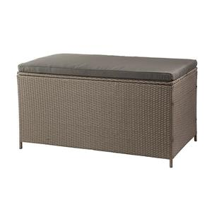 Patio Storage Box, Brown Wicker & Dark Grey Cushion - 51