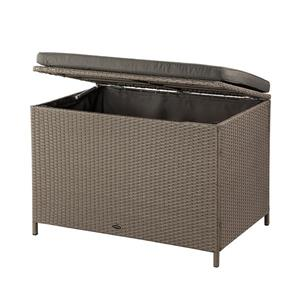 Ferrara Deck Storage Box - Brown Wicker & Dark Grey - 35