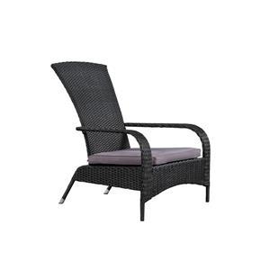 Confortable fauteuil haut Muskoka en osier pour patio, Noir
