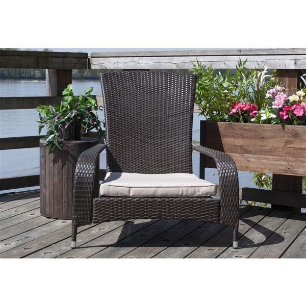 Wicker Muskoka Outdoor Chair - Dark Brown and Beige