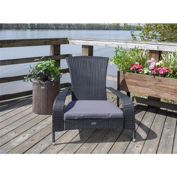 Patio Flare Wicker Muskoka Chair - Black