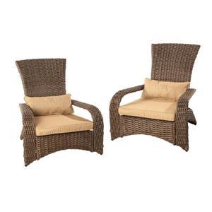 Premium Wicker Muskoka Chair - Sesame - Set of 2