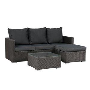 Patio Flare Evan 3-Piece Sofa Set - Dark Grey