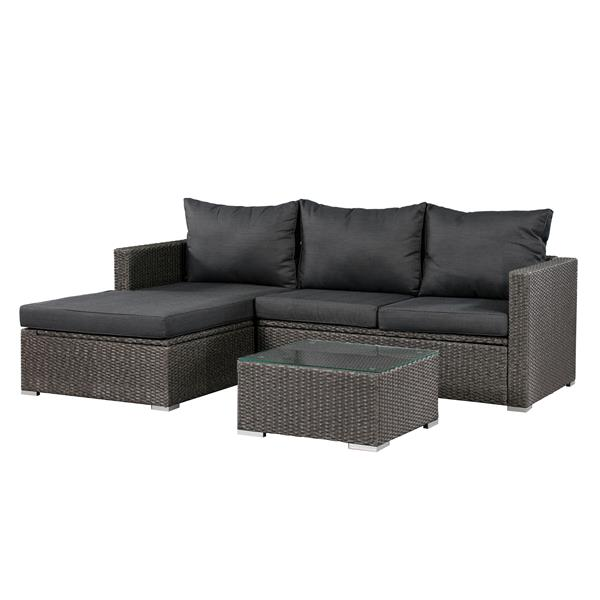 Patio Flare Emmett 3-Piece Sofa Set - Dark Grey