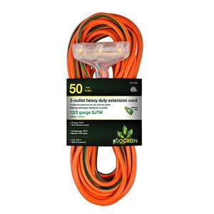 3-Outlet Heavy Duty Extension Cord - 12/3 - 50' - Orange