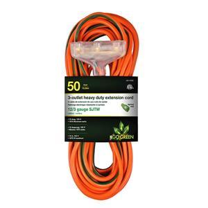 Rallonge électrique résistante à 3 prises, 12/3, 50', orange