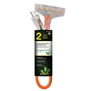 3-Outlet Heavy Duty Extension Cord - 12/3 - 2' - Orange