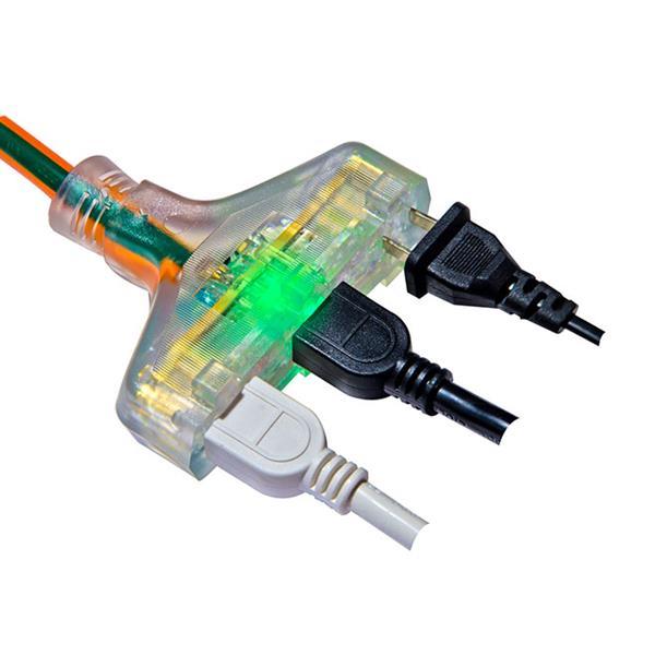 Rallonge électrique résistante à 3 prises 14/3, 25', orange