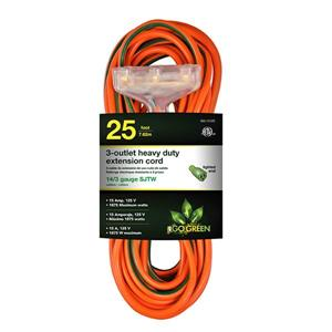 3-Outlet Heavy Duty Extension Cord - 14/3 - 25' - Orange