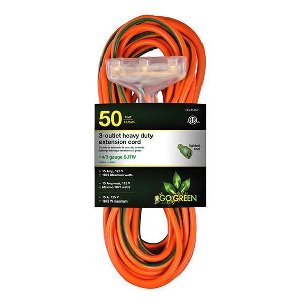 Rallonge électrique résistante à 3 prises, 14/3, 50', orange