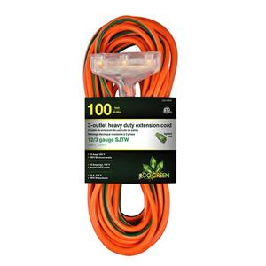 3-Outlet Heavy Duty Extension Cord - 12/3 - 100' - Orange