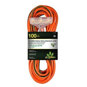 Rallonge électrique résistante à 3 prises, 12/3, 100',orange