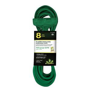 Rallonge électrique résistante à 3 prises,16/3 SJTW, 8',vert