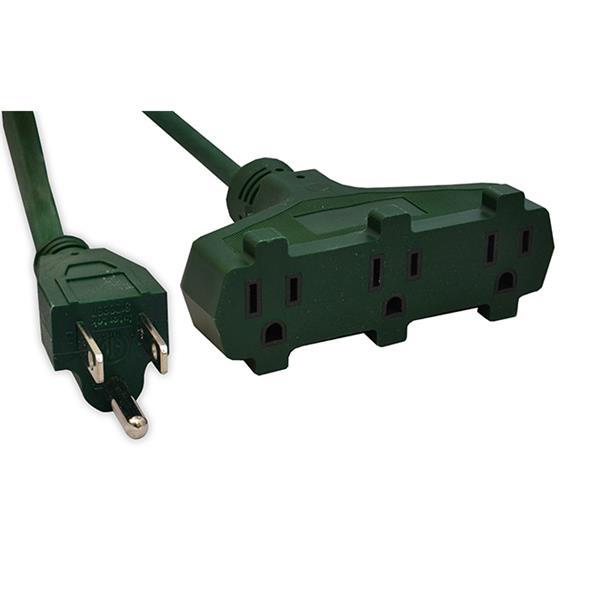 GoGreen Power 3-Outlet Heavy Duty Extension Cord - 16/3 SJTW - 22' - Green