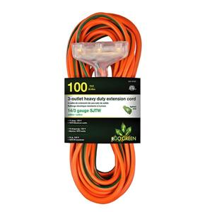 3-Outlet Heavy Duty Extension Cord - 14/3 - 100' - Orange