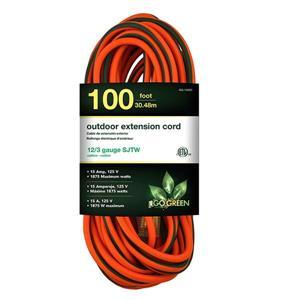 Rallonge électrique d'extérieur résistante,12/3, 100',orange