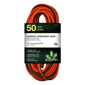 Rallonge électrique d'extérieur, 12/3 SJTW, 50', orange