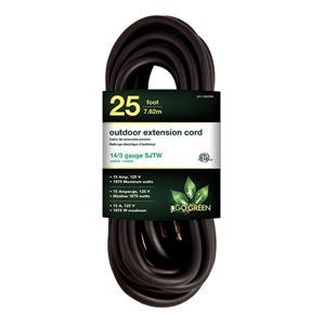 Rallonge électrique d'extérieur, 14/3 SJTW-A, 25', noir