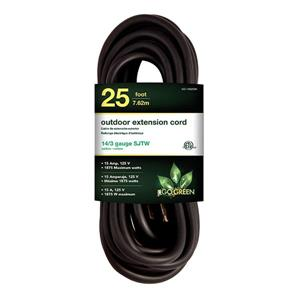 GoGreen Power Outdoor Extension Cord - 14/3 SJTW-A - 25' - Black
