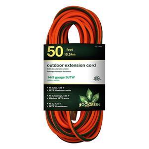 Rallonge électrique d'extérieur, 14/3 SJTW-A, 50 ', orange