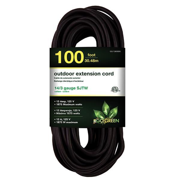 Rallonge électrique d'extérieur, 14/3 SJTW-A, 100 ', noir