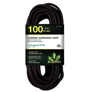 Outdoor Extension Cord - 14/3 SJTW-A - 100' - Black