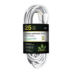 Rallonge électrique d'extérieur, 16/3 SJTW, 25', blanc