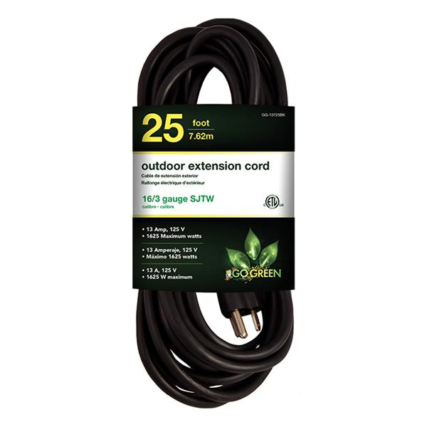 GoGreen Power Outdoor Extension Cord - 16/3 SJTW - 25' - Black