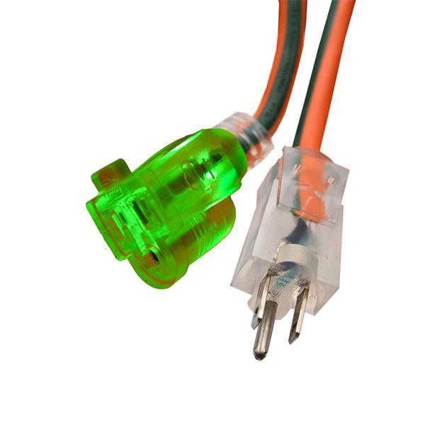 Rallonge électrique d'extérieur, 16/3 SJTW, 100', orange