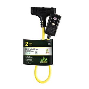 GoGreen Power GFCI with Tri-Tap - 20 A - 2' - Yellow