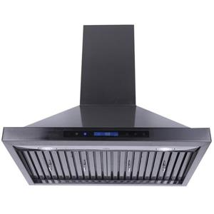 Turin Pinosa Wall Mounted Range Hood Black 36-in - 900 CFM