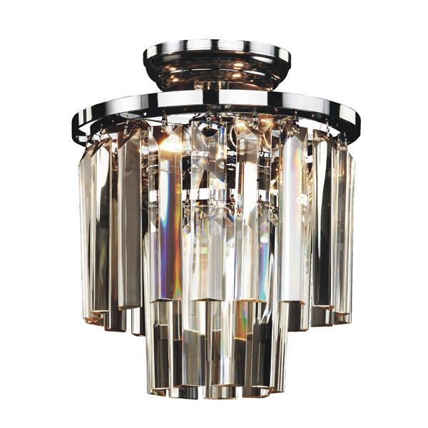 "Plafonnier Glow Crystal, Chrome et verre, 10"""