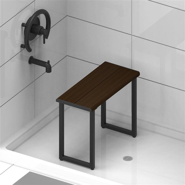"Invisia Collection Shower Bench  - 24"" - Matte Black - Walnut Finish"