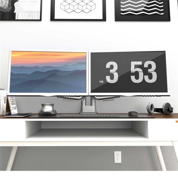 """Support de bureau pour écrans de 17"""" à 32"""", Double, Argent"""