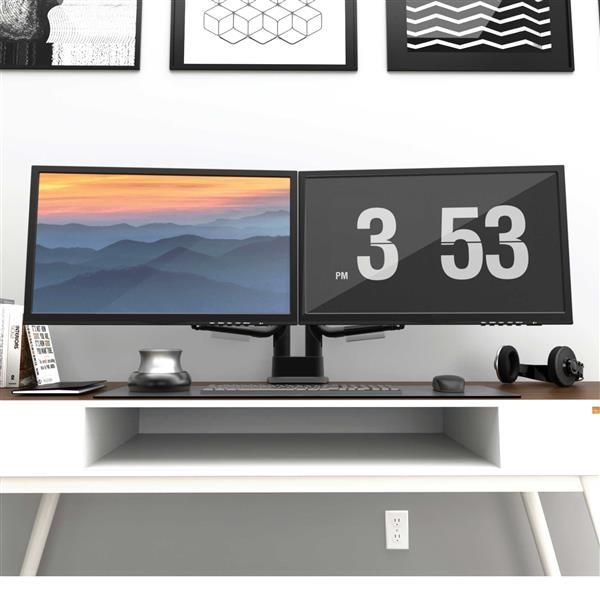 """Support de bureau pour écrans de 17"""" à 32"""", Double, Noir"""