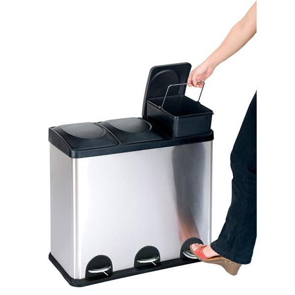 Step N' Sort 45L  3-Compartment Trash and Recycling Bin