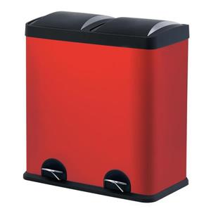 The Step N' Sort 60L Red Dual  Trash and Recycling Bin