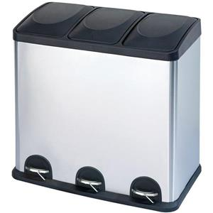 The Step N' Sort 60L 3 Compartment Trash and Recycling Bin