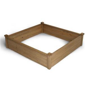 Lit de jardin modulaire élevé en bois, 4'x4'