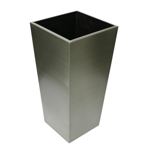 """Stainless Steel Square Tapered Planter - 14"""" x 29.5"""""""