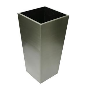 """Jardinière carrée conique en acier inoxydable, 14"""" x 29,5"""""""