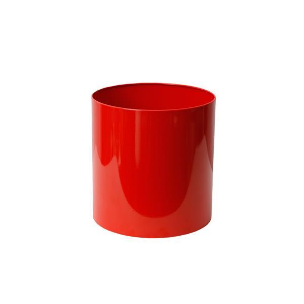 """Jardinière ronde droite en acier inoxydable, 12"""" x 12"""",rouge"""