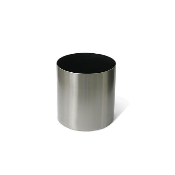 "Stainless Steel Straight Round Planter - 12"" x 12"""